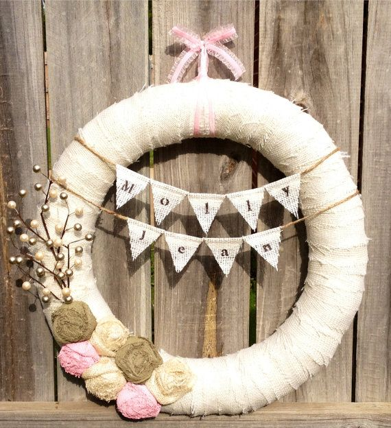 """18"""" New Baby Girl Wreath, Nursery, Baby Shower, Hospital, Delivery, Door/Wall Decor, Wedding Wreath, Shabby Chic: Pink, Sage, Champagne. $60.00, via Etsy.  @Rachel House"""