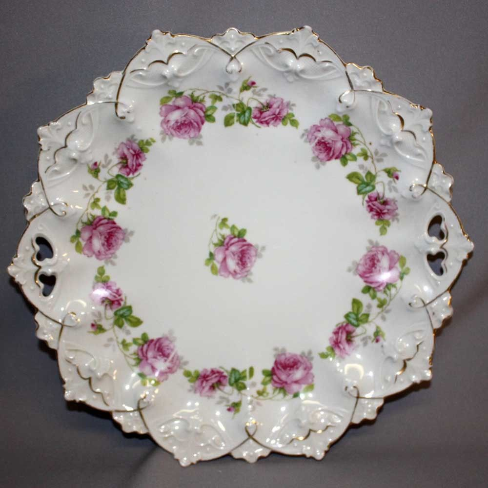 Altrohlau Austrian Serving Plate Cake Hutschenreuther Roses 19th Century