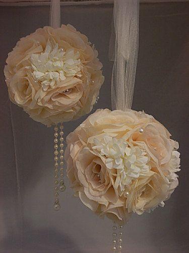 2Ivory Mix Wedding Pomanders Wedding Flower by Elegantweddingdecor, $60.00