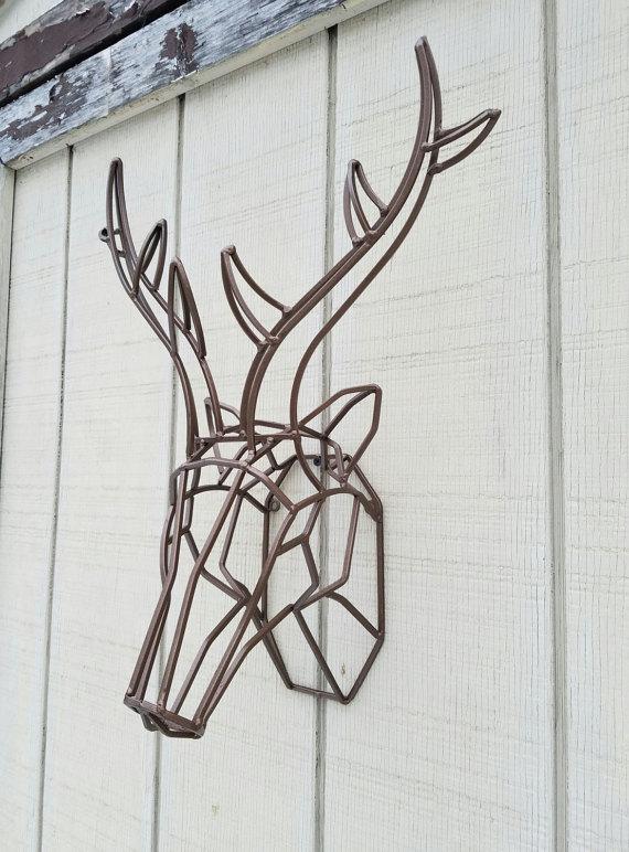 Geometric Wall Decor / Geometric Deer Head / Metal Deer Art/ Deer ...