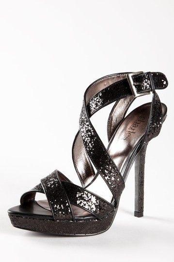 Charles by Charles David Haven Black Glitter Platform Sandal