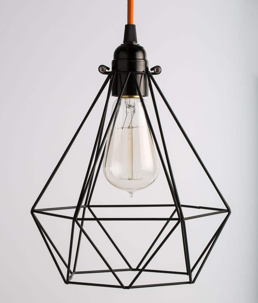 Diamond Geometric Cage Inspection Light W Coloured Fabric Cable
