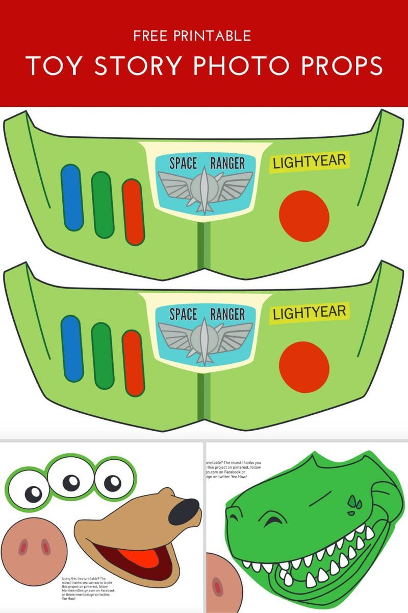 Toy Story Photo Booth Props {free printable PDF} #50thbirthdaypartydecorations Free printable Toy Story Photo Booth props for a Toy Story Birthday Party! Buzz, Hamm, Slinky Dog, Aliens, Rex and more. Makes these cute Toy Story party decorations. #toy #story #birthday #party #photo #props #printable #50freeprintables
