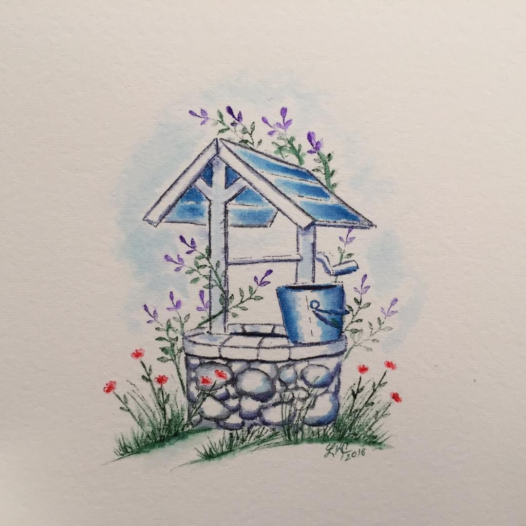 Art Impressions Watercolor Wishing Well Handmade Card Con