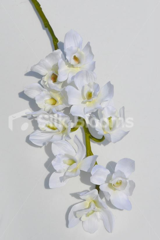 Artificial Cymbidium Orchid Floral Stem In White Silk Cymbidium Single Stem Flower 54cm Cymbidium Orchids Artificial Flowers Wedding Orchids