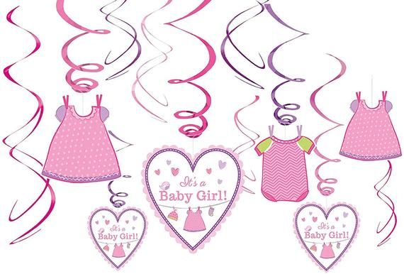 SHOWER WITH LOVE GIRL HANGING SWIRL DECORATIONS ~ Baby Party Supplies 12pc