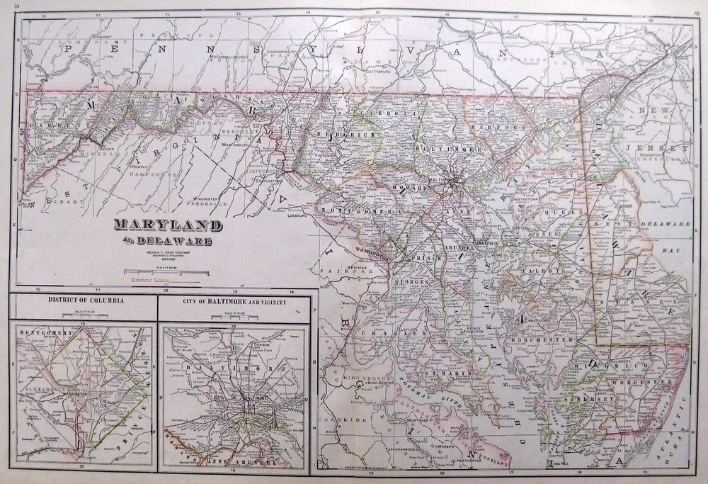 Antique Map of MARYLAND and DELAWARE Map
