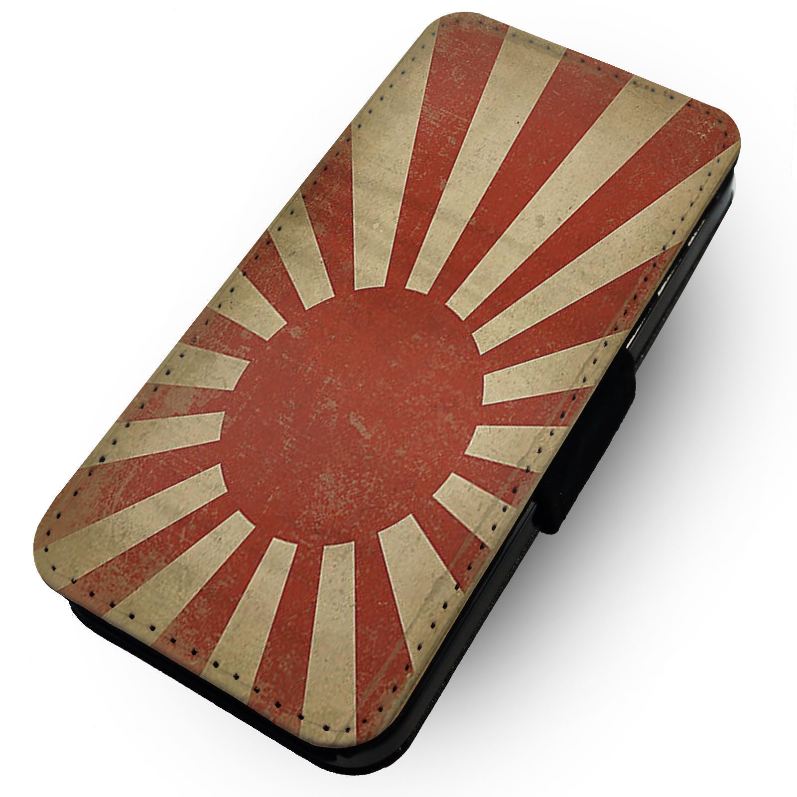 Worn Rising Sun Flag  Printed Faux Leather Flip Phone