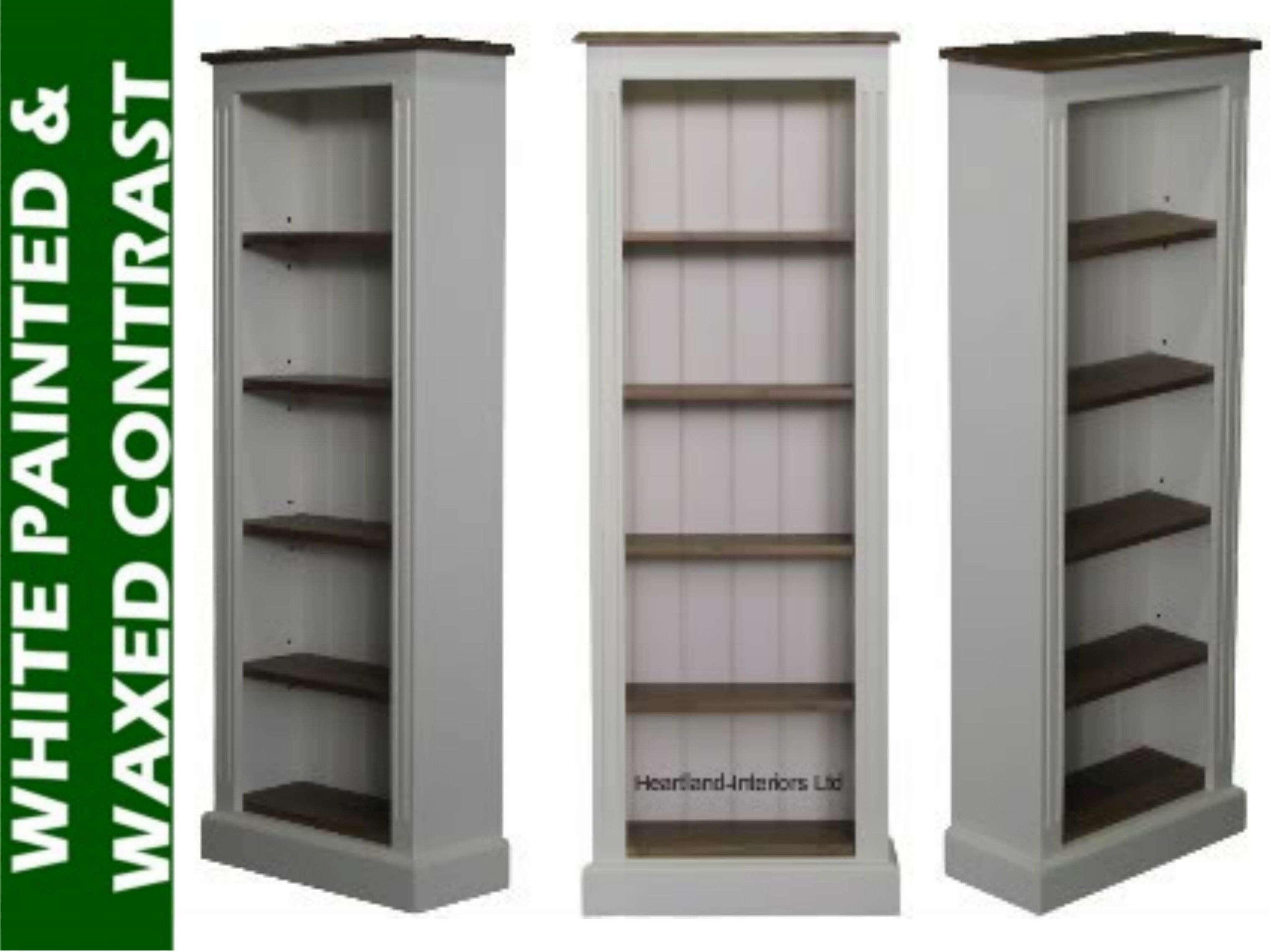 solid pine bookcase 5ft tall white painted waxed adjustable 5 narrow display bookshelves home decorator