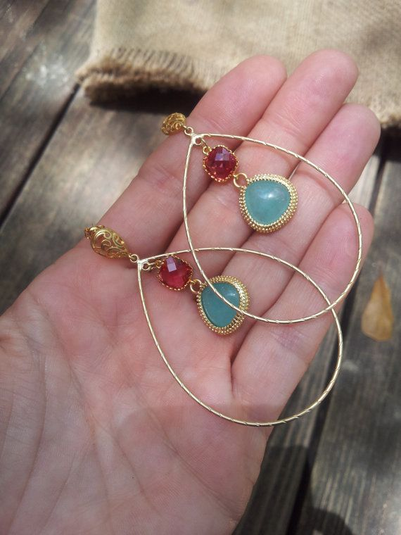 mexican summer  hoops gold earrings ruby birthday by allcre8ive, $52.00