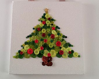 Items Similar To Button Tree On Etsy Button Crafts Merry Christmas Decoration Button Art On Canvas