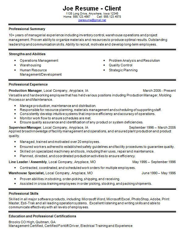 Warehouse Resume Skills - Templates