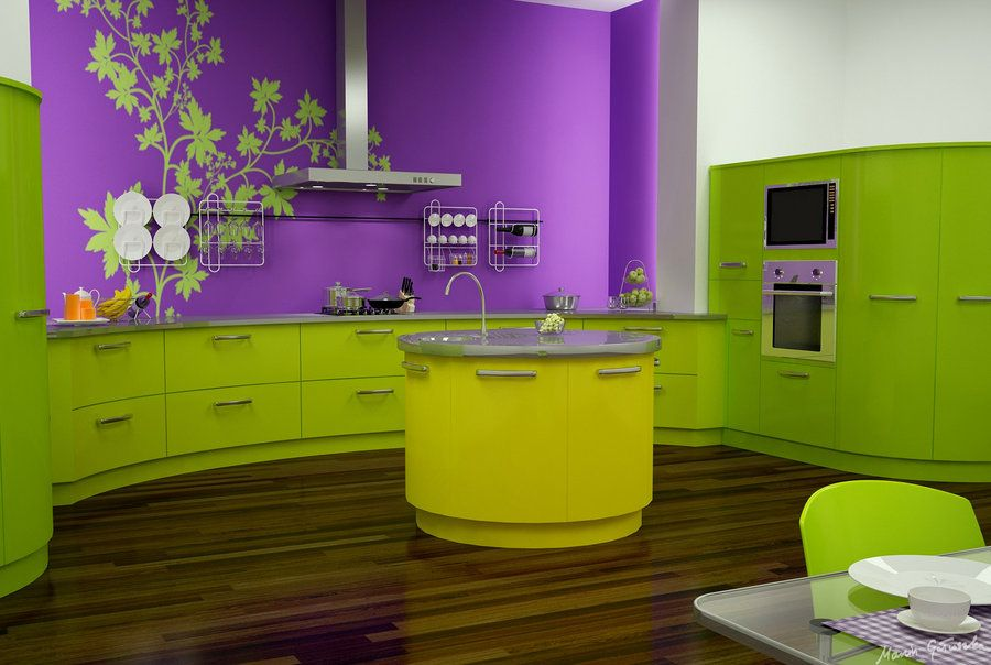 Neat Design Green Kitchen With Island And Purple Wall