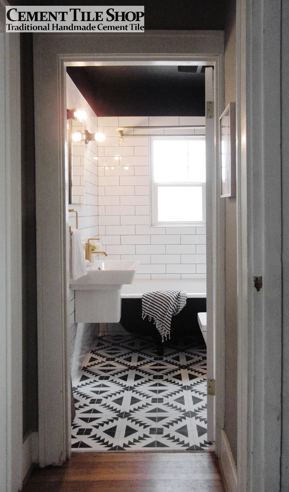 Black grouting bathroom - Cement Tile Shop Handmade Cement Tile Tulum Pattern Photo Credit Capree Kimball