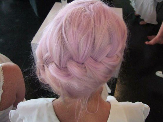 Soft pastel pink french braided hair :)