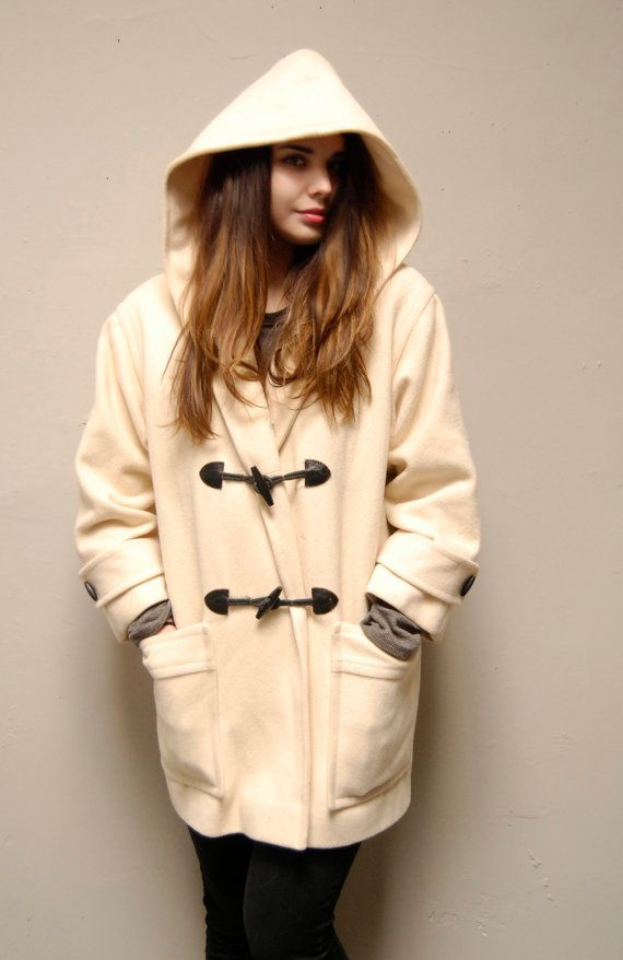 PABLO BY GERARD DAREL Duffle coat Blanc ($420) ❤ liked on