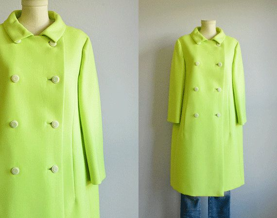1960s Vintage Lime Green Wool Mod Coat