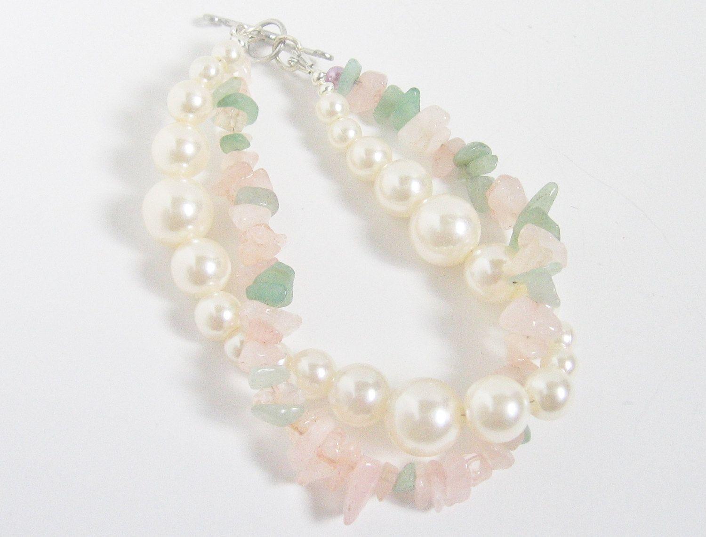 Rose Quartz, Adventurine and Pearl Bracelet; Pink and Green Bracelet, Pearl Bracelet by LaurieCrosbyDesigns on Etsy