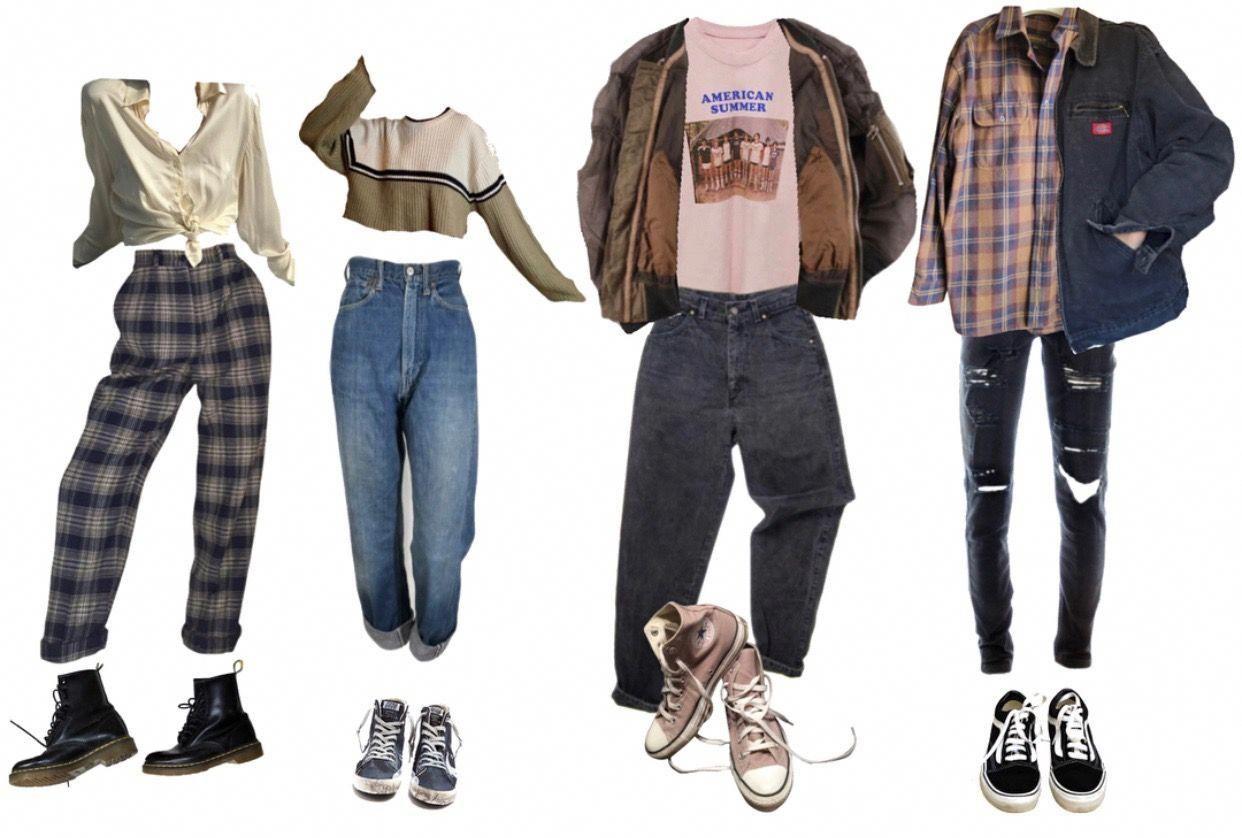 El primer outfit no me gusta mucho, pero los demás sí... A excepción de el último pantalón a la derecha #grungeoutfitswinter #90sgrunge