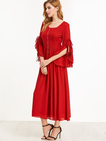 0007d1fd27 Shein Red Bell Sleeve Tie Detail Pleated A-Line Dress | :: >> Just ...