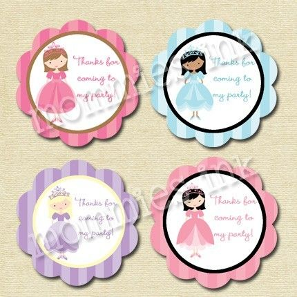 Princess Party Favor Tags PRINTABLE PARTY CIRCLES by MommiesInk ...