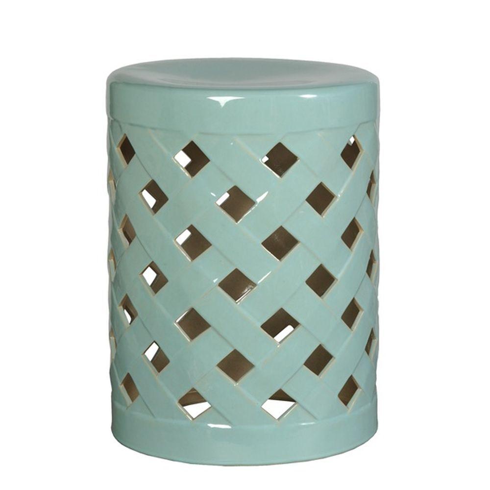 Turquoise Crisscross Ceramic Garden Stool Ceramic Garden