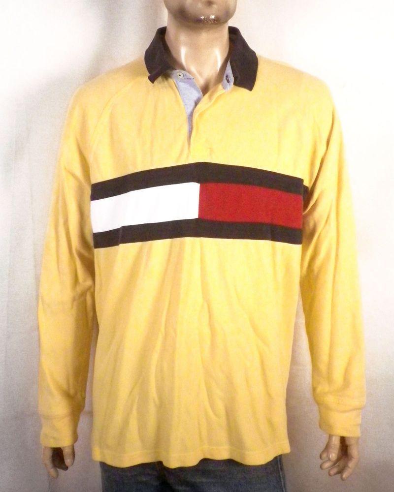 241d3f9b6 vtg 90s Tommy Hilfiger Huge Colorblock Flag Logo Rugby Shirt Polo Sport 92  93 XL