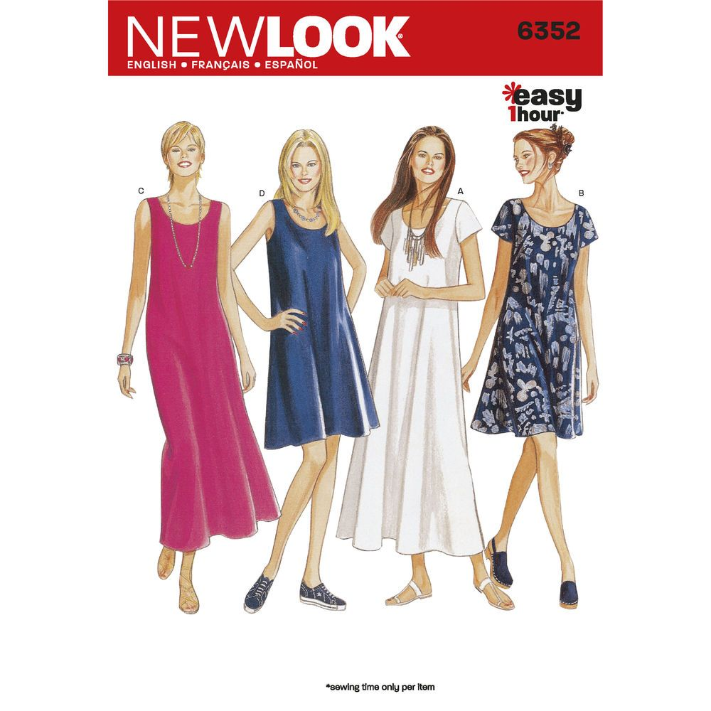 Easy misses dress with sleeve and length variations sew one up new look sewing pattern 6352 misses dresses size a jeuxipadfo Image collections