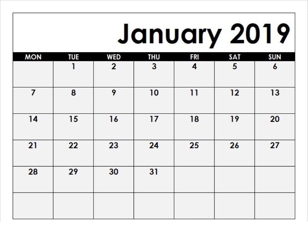 Printable 2019 January Calendar 250+ January 2019 Calendar