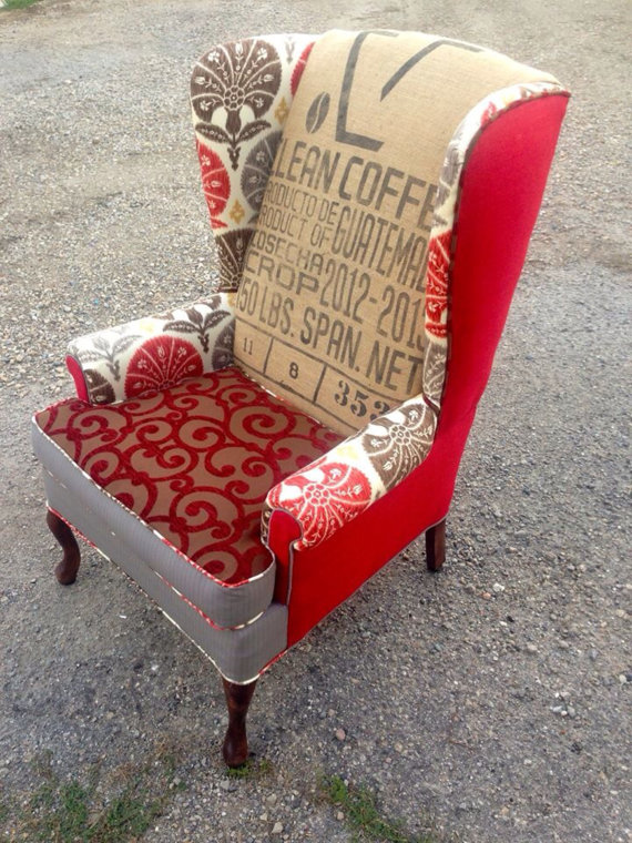 """Custom Pair of Wingback Chairs in """"The Red One"""" with Clean Coffee Bean Bag"""