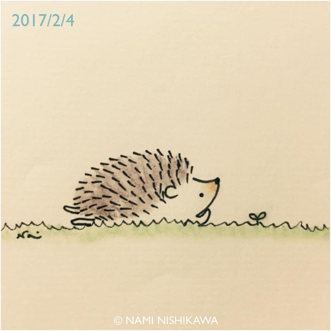 1113 #立春  the first day of spring #illustration #hedgehog #イラスト #ハリネズミ #なみはりねずみ #illustagram