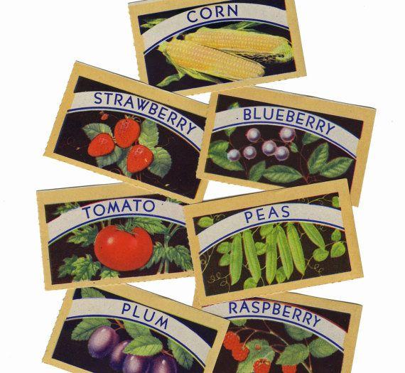 7pcs VINTAGE CANNING LABELS 1940s Gorgeous Color Set B  cOveTableCuriOsitiEs  at  Etsy
