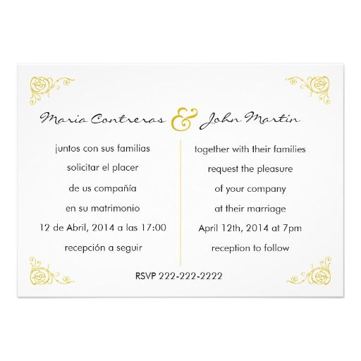 Bilingual English Spanish Wedding Invitation Wedding Invitations