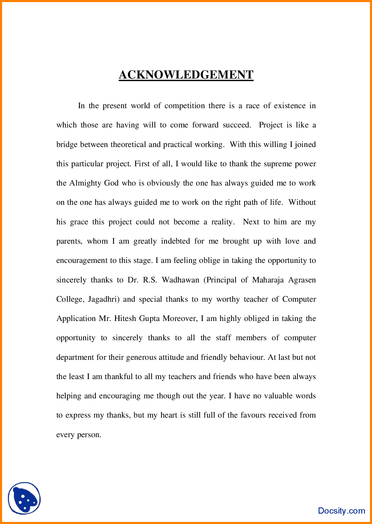 6+ Acknowledgement Sample For Project | Report Example | Sample Resume  Templates, Writing, Chemistry Projects