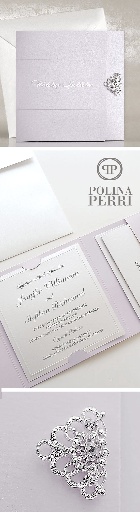 Luxury Lavender Wedding Invitations decorated with silver brooch ...