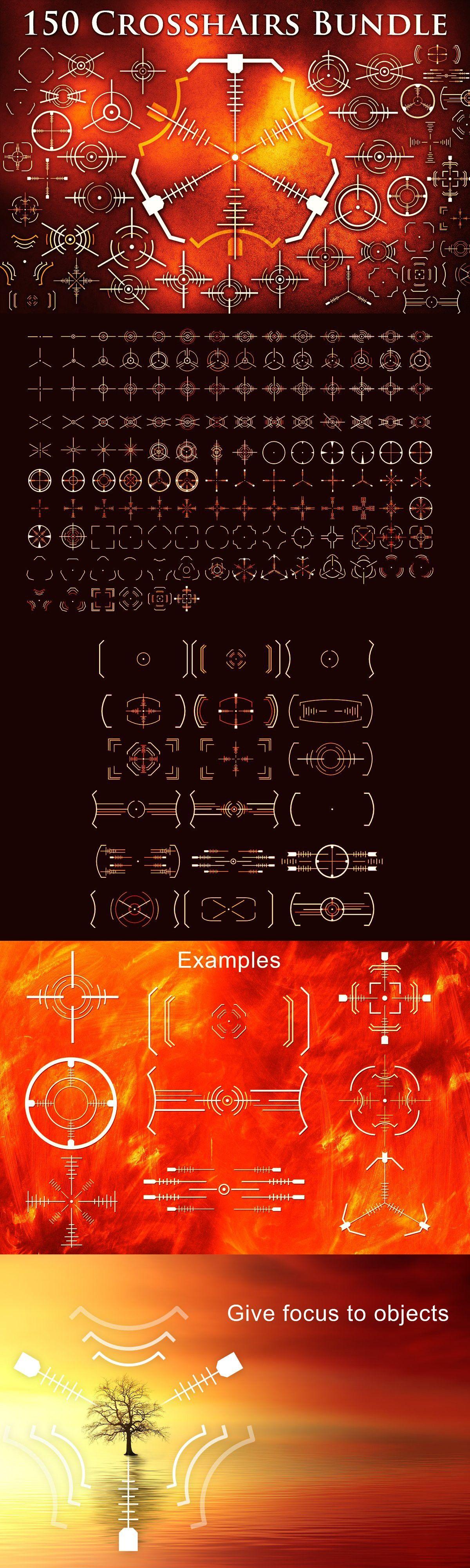 Crosshair Bundle Svg Png Eps Brushes Bundles Futuristic Design Eps
