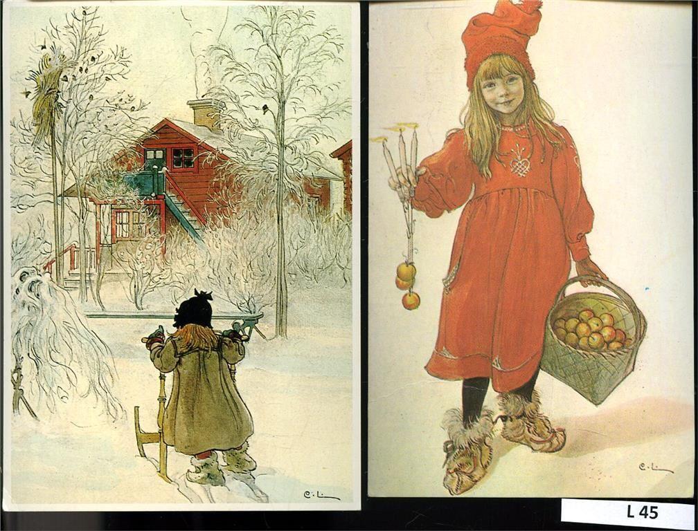 Julkort 2 stycken postgångna Carl Larsson på Tradera. Helger | Allmänt