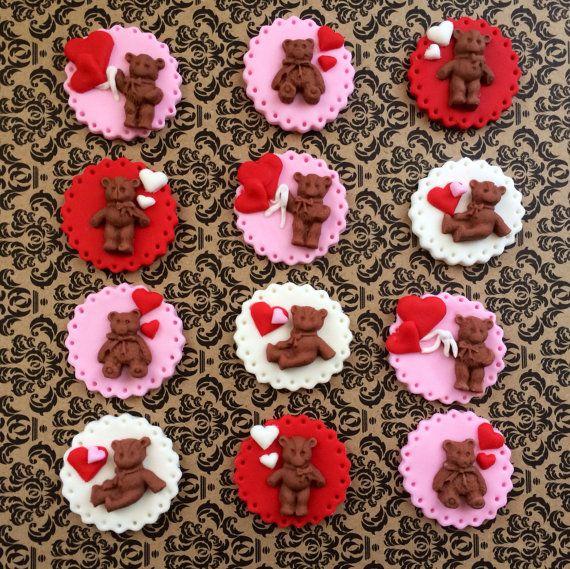 Dozen Valentine S Day Birthday Baby Shower Day Fondant Teddy Bear