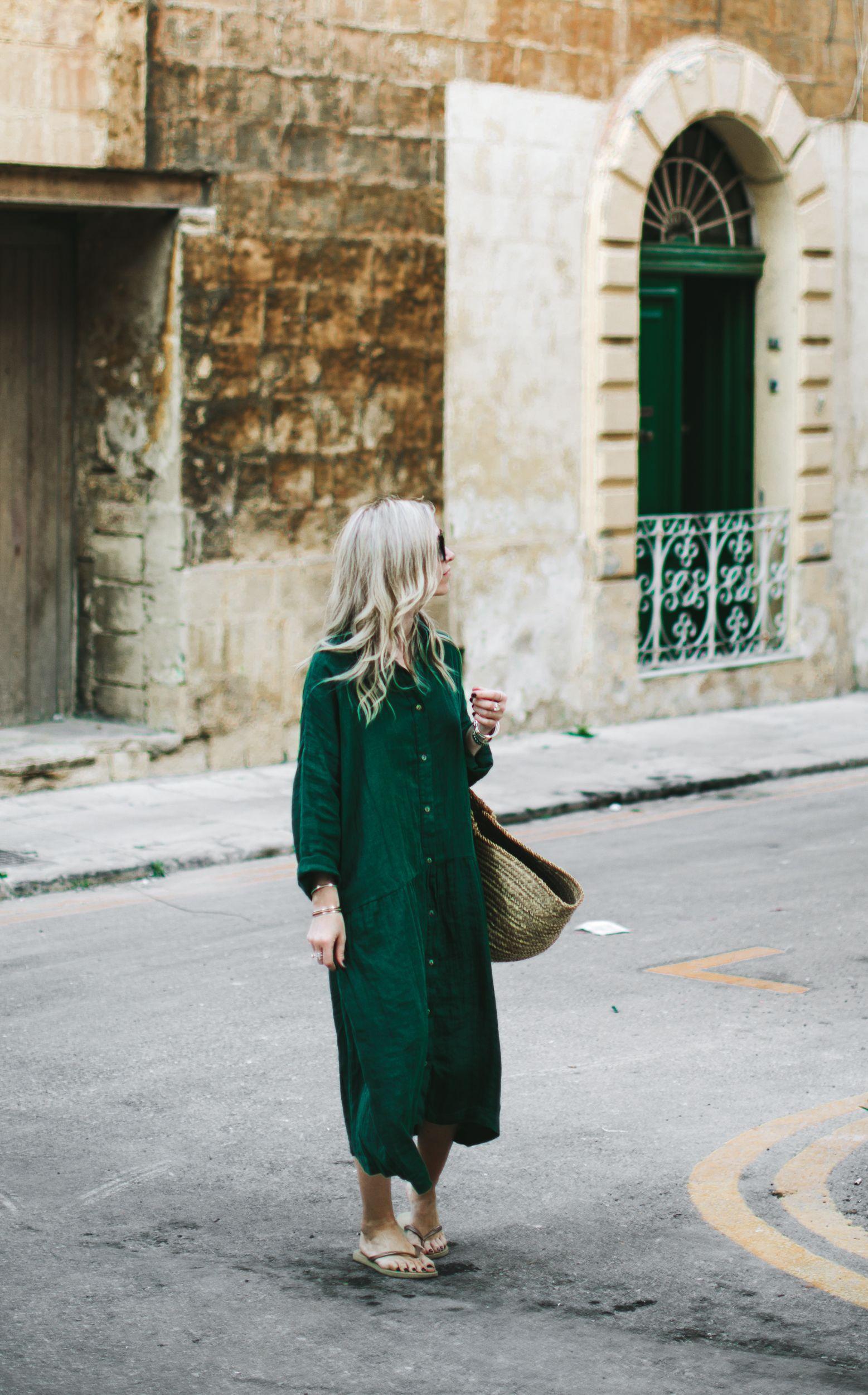 3090fe3277 Oversized linen dress green w 2019