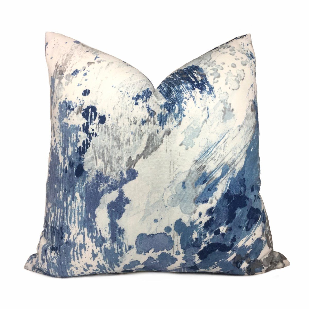 Orinoco Blue Gray White Modern Art Cotton Print Pillow Cover Animal Print Pillows Printed Pillow Blue Pillow Covers