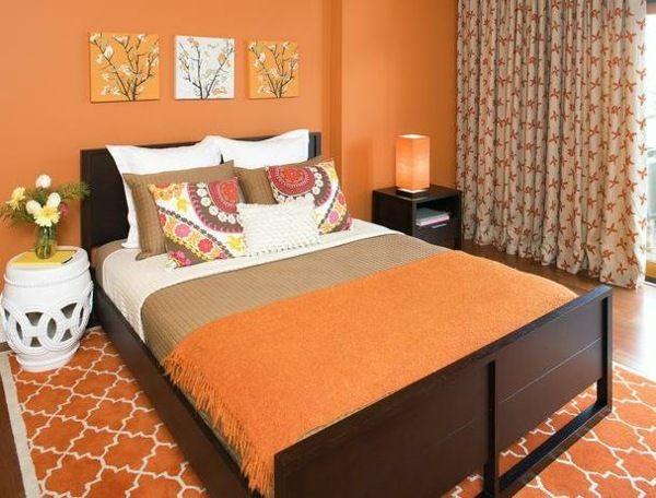 Orange Farbe Schlafzimmer Wandgestaltung Deko Ideen Designs ... Schlafzimmer Orange
