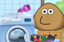 Juego Pou Aprende a Lavar su Ropa