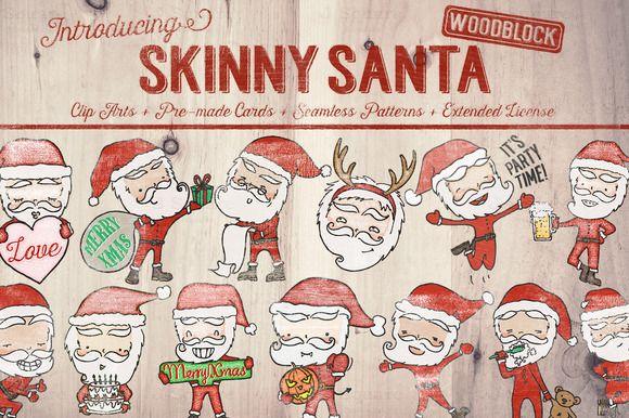 Skinny Santa Clip Art Bundles by JSquarePresents on Creative Market