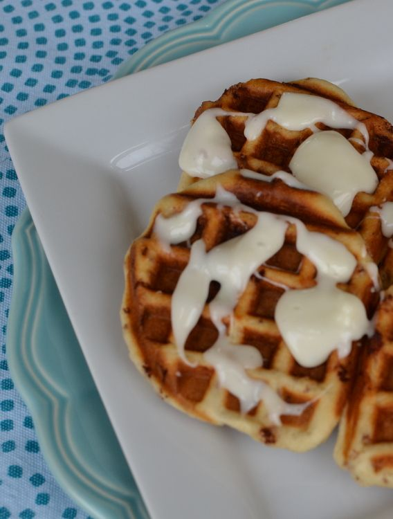 Cinnamon Roll Waffles! You can whip these up in about 5 minutes! Honestly!
