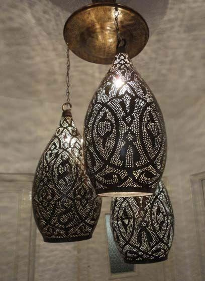 3 Handcrafted Stunning Design Moroccan Brass Hanging Lanterns