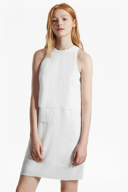 French Connection Solid Shift Dress Wedding White
