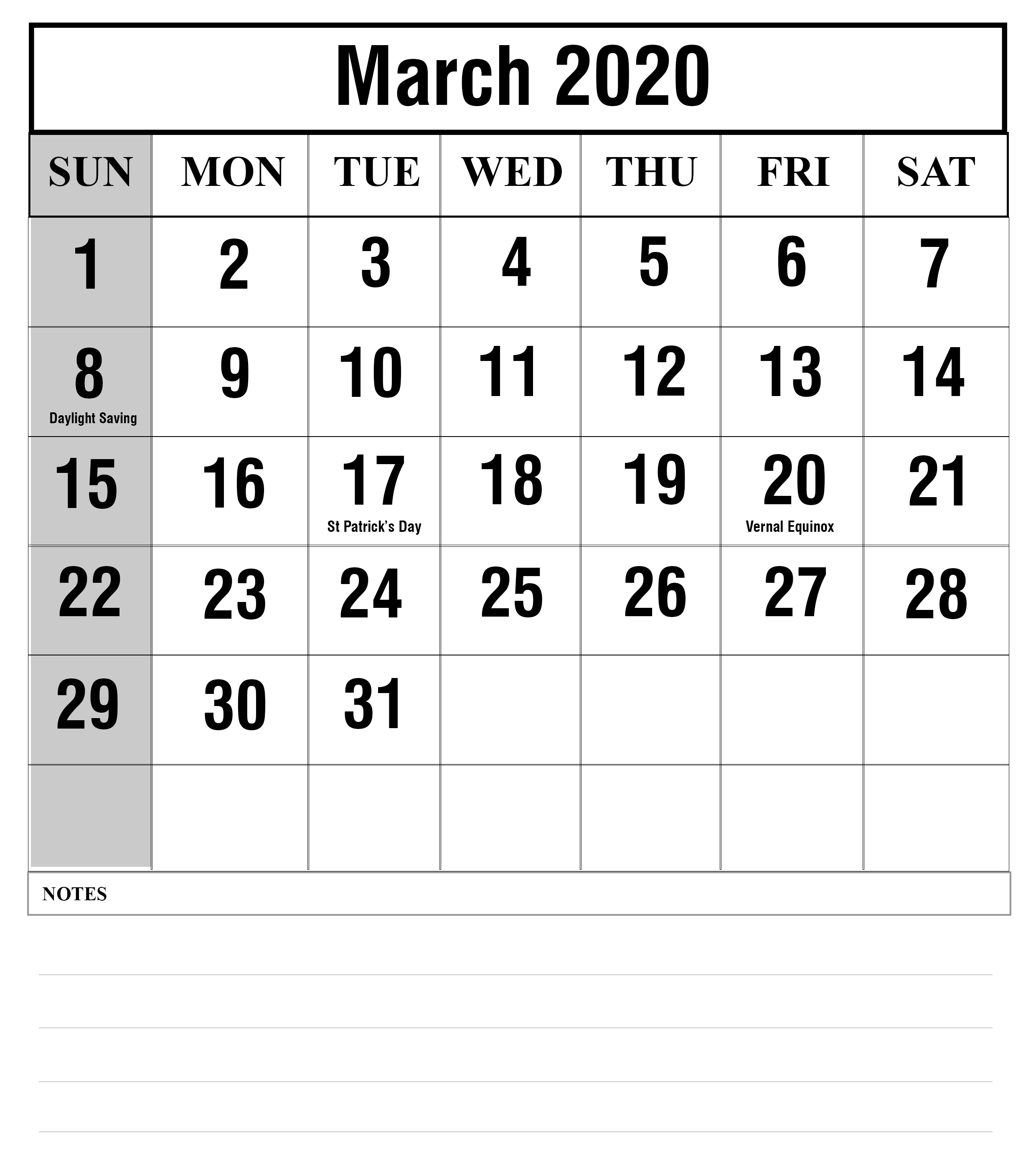 March 2020 Calendar With Holidays Printable Notes Template Blank