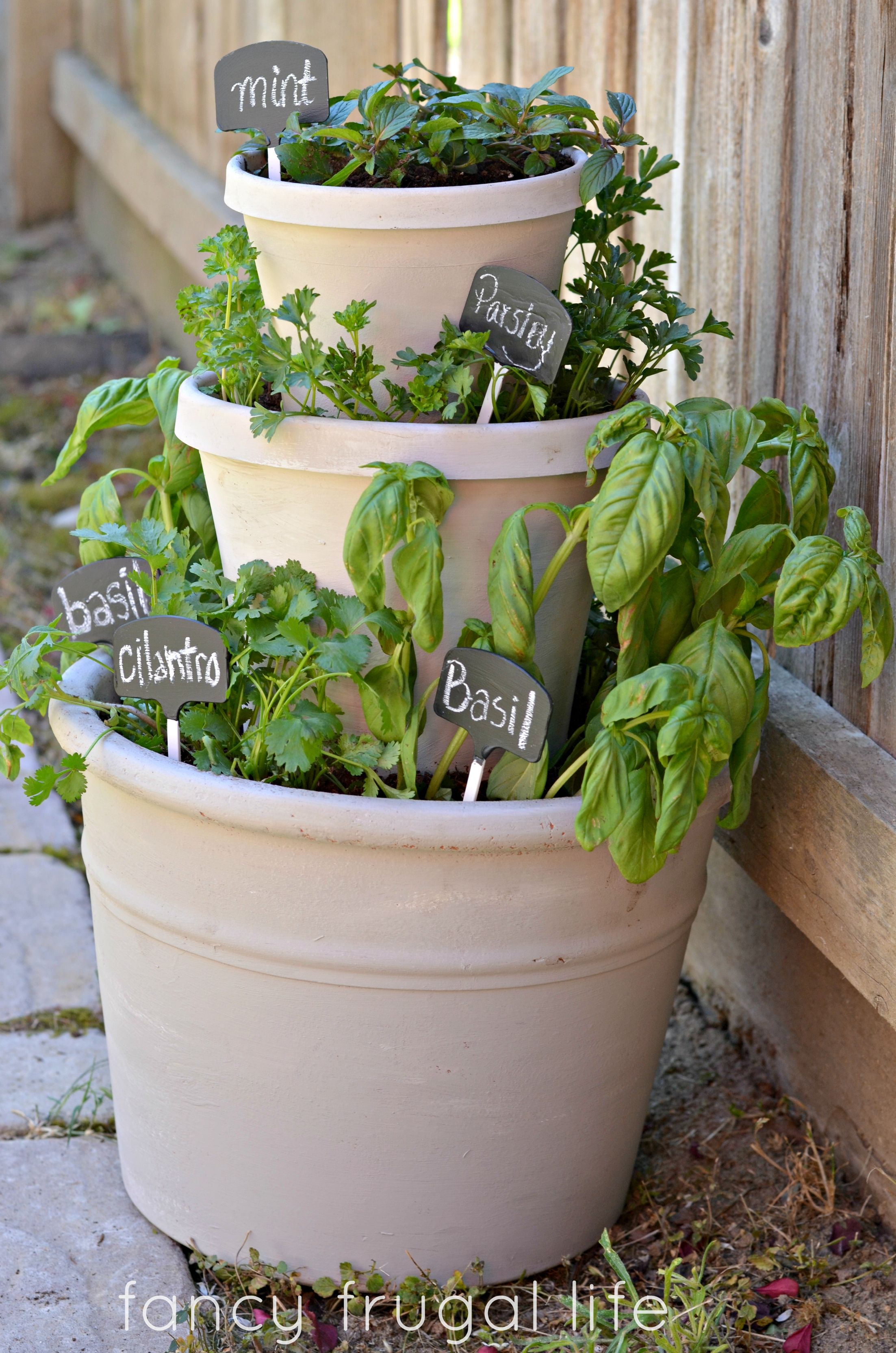 cute yet useful stacked potted herbs easy project and so fun great gift idea too
