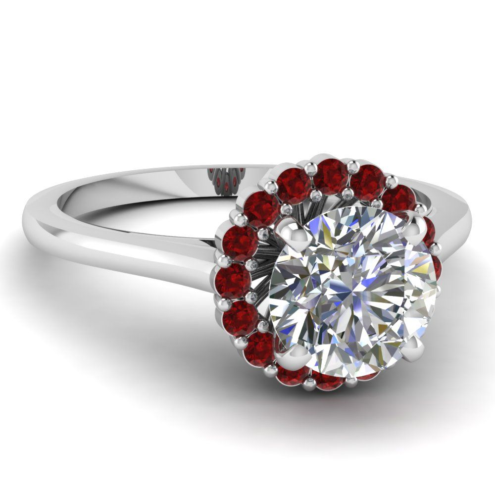 Cute Narrow Floral Ring Halo RingsHalo Engagement RingsDiamond RingsRuby