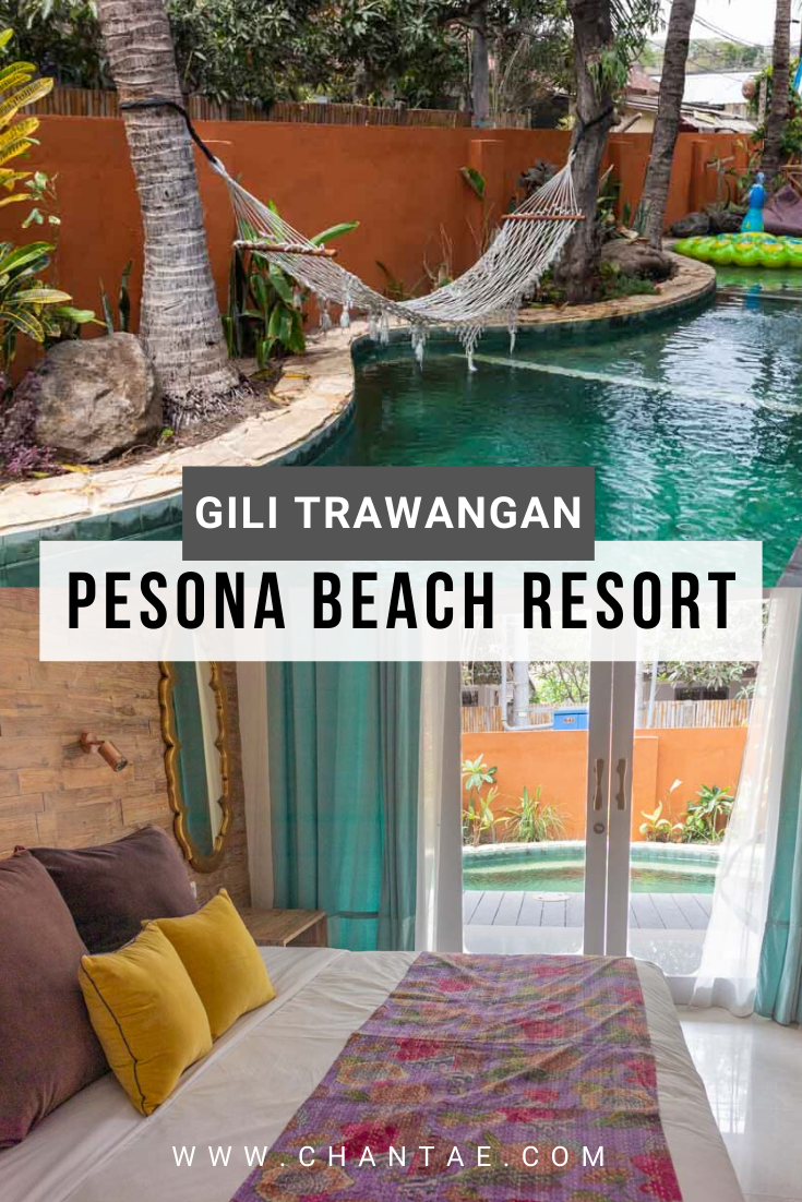 With its bohemian decor, seaside location, delicious Indian restaurant, lounge area, pool, spa, eco-friendly ethos, and onsite dive center, Pesona Beach Resort in Gili Trawangan is near the top of my damn, I could live here, list of hotels. #gilitrawangan #pesonabeach #asia #asiatravel #travelaccomodation #resort #hotel